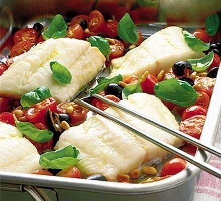 Запеченная рыба с овощами по-итальянски